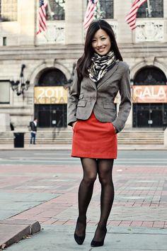 Cowl-neck tank, Blazer: H&M, Wool Mini Skirt: H&M, Accessories: H&M scarf, Prada suede heels & Peri cameo