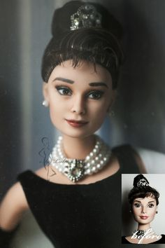 Audrey Hepburn OOAK doll repaint.