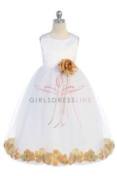White/Gold+Sleeveless+Satin+Flower+Petal+Flower+Girl+Dress+K160B-GD+$33.95+on+www.GirlsDressLine.Com