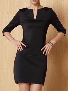 Black A-Line Dress with Pockets - Choies.com