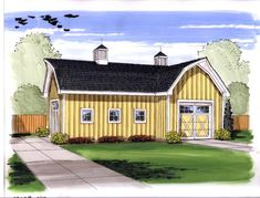 Elevation of Farmhouse  Traditional   Garage Plan 44144--cute garage/workshop