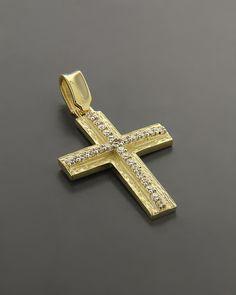 Σταυρός βάπτισης Χρυσός Κ14 με Ζιργκόν Crosses, Jewlery, Pendant, Nails, Soldering, Gold, Jewels, Accessories, Jewelery