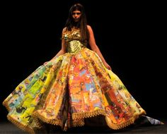 LOVE! Someone created this dress out of pages of the Golden Books (the ones with the golden spine? Like Poky Little Puppy and many many others) COOLEST DRESS EVER!