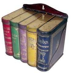 British Biscuit Tins -  Manufacturer:CWS   -Name:  Books   -    Date:1913    -   How rare?:Scarce
