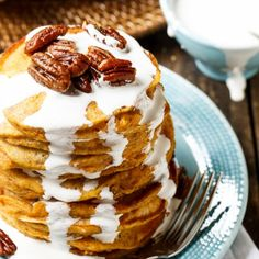 Sweet Potato Pancakes with Marshmallow Cream and candied pecans.