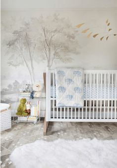 Exquisite boy& nursery features a an accent wall clad in Susan Harter Mural. Baby Bedroom, Nursery Room, Girl Nursery, Nursery Decor, Nursery Ideas, Room Baby, Themed Nursery, Boys Nursery Wallpaper, Nursery Wall Murals
