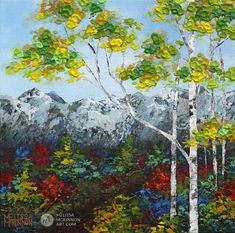 Landscape painting of mountains and aspen and birch tree forest with fall foliage in autumn by contemporary painter artist Melissa McKinnongiclee art print of nature 'Morning Hike', landscape paintings,landscape art,mountain paintings, mountain art, rocky mountains, mountain view, mountain range,art prints of mountains,acrylic paintings, oilpaintings, paintings with texture, nature painting, scenery painting,art print, prints on canvas, giclee prints,art prints of nature,art prints…