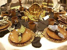 Safari-decorations-for-dining-table Safari Jungle Party Theme. Safari Home Decor, Safari Decorations, Table Decorations, Reunion Decorations, Outdoor Decorations, Centerpieces, Wedding Decorations, African Party Theme, African Wedding Theme