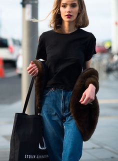 black tee & mom jeans. #MarnieHarris looking brills #offduty in Auckland.