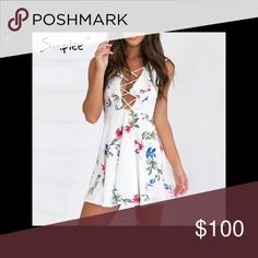 Open Cross Front Floral Mini Dress Sexy open cross front design, feminine ruffles, and a flattering fit and flare cut make this pretty white floral pattern mini dress a must have. fairlygirly Dresses Mini