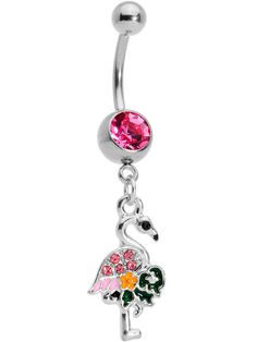 Belly Button Piercing, Navel Piercing, Belly Button Rings, Piercings, Dangle Belly Rings, Black Accents, 316l Stainless Steel, Pink Flamingos, Dangles