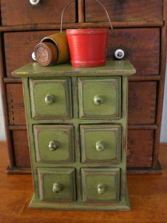 Wooden Spice Box Apothecary Primitive Tea Chest of Drawers -Treasury ...
