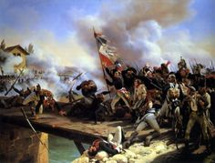General Bonaparte and his troops crossing the bridge of Arcole.
