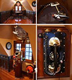 "essentialnothing: "" Steampunk House: Retro-Futuristic Victorian Interior Refab """