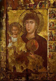 Icon inside an icon of Hodegetria Religious Icons, Religious Art, Medieval Art, Renaissance Art, Roman History, Art History, Greek Mythology Art, Roman Mythology, Fresco