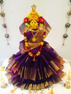 Varalakshmi idol decorated grandly with pattu saree and jewellery Festival Decorations, Flower Decorations, Wedding Decorations, Stage Decorations, Kalash Decoration, Mandir Decoration, Housewarming Decorations, Ganapati Decoration, Pooja Mandir