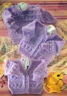Knitting Pattern -Baby Eyelet Textured Cardigans & Sweater Round/V 16 - DK Baby Knitting Patterns, Baby Cardigan Knitting Pattern Free, Knitted Baby Cardigan, Baby Pullover, Cardigan Pattern, Baby Patterns, Vintage Patterns, Baby Jumper, Kids Knitting