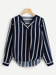 Shop Plus Striped V Neck Blouse online. SheIn offers Plus Striped V Neck Blouse & more to fit your fashionable needs.