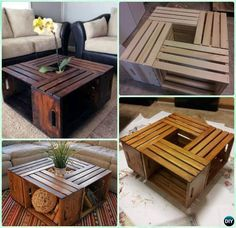 DIY Wine Wood Crate Coffee Table Free Plans - Four-Crate-Coffee Table on Wheel