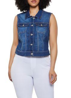 baecef896 Plus Size WAX Jean Vest - Blue - Size 3X