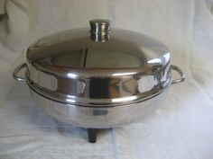 Farberware 12 Inch High Dome Stainless Steel Electric Frying Pan Chicken Fryer Vintage 1980s
