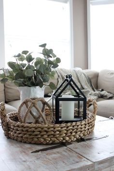 48 Amazing Farmhouse Living Room Design Ideas - Your living room should be decorated in your own personal style, not that of a decorator. The living room is usually the first room that your guests s. Home Living Room, Living Room Designs, Decorating Coffee Tables, Coffee Table Decor Living Room, Coffee Table Tray Decor, Coffee Table Centerpieces, Livingroom Table Decor, Coffee Table Styling, Farmhouse Living Room Decor