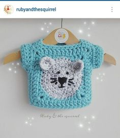 Instagram @rubyandthesquirrel - crochet baby girl, bear face granny stitch motif top