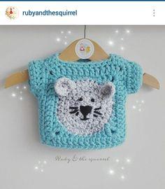 Instagram @rubyandthesquirrel - crochet baby girl, bear face granny stitch motif top