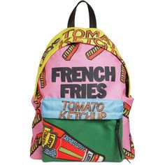Leo Studio Design Women French Fries Printed Nylon Backpack ($155) ❤ liked on Polyvore featuring bags, backpacks, nylon rucksack, rucksack bag, lining bag, zip backpack and knapsack bag
