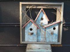 Reclaimed Rustic Wood Birdhouse Framed Wall by RusticCharmDesignz