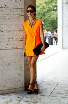 Miroslava Duma - Jil Sander tunic (it was once a blazer) and Prada clutch.
