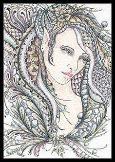 Zentangle faces | ... Gallery: Zentangles » ZIA - Zentangle Inspired Art » Dream Face