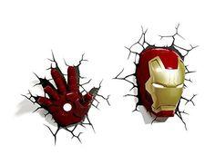 Marvel 3D Deco Light Avengers Iron Man Mask Helmet and Repulsor Hand Deluxe Set Wall Nightlight