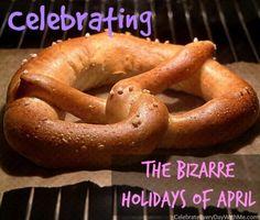 April 26 is National Pretzel Day. click through to get some fun facts and pretzel recipes. Homemade Soft Pretzels, Pretzels Recipe, Wacky Holidays, Unusual Holidays, Cinnamon Sugar Pretzels, Pretzel Day, Thing 1, Favorite Holiday, Good Food