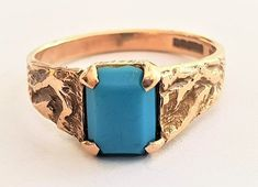 Vintage Unisex Modern Solitaire Turquoise Dress Ring in 9 ct Yellow Gold Textured Band FREE POSTAGE included by GloryBeVintageWares on Etsy