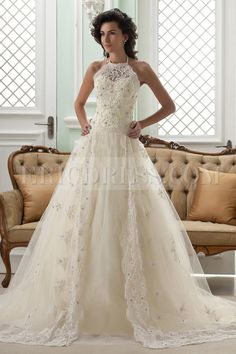 Amazing A-line High-Neck Sleeveless Floor-Length Court Appliques Color #Wedding Dress  www.finditforweddings.com