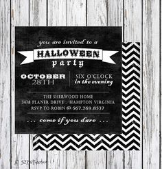 Halloween Party Invitation  White with Black Design  by 527Studio, $14.00