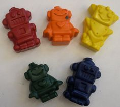 10 Set of 5 Robot  Crayons - Outer Space  Birthday Party Favors - CHOOSE COLORS