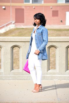 White Jeans, Denim Jacket, All White, Outfit Idea, Jean Jacket Outfit Ideas, Spring Outfit Idea