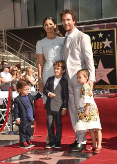 Matthew McConaughey and his family Camila Alves, Levi McConaughey, Livingston McConaughey , and Vida McConaughey attend The Hollywood Walk Of Fame ceremony for Matthew McConaughey on November 2014 in Hollywood, California. Celebrity Couples, Celebrity Gossip, Celebrity Weddings, Celebrity Photos, Hollywood Couples, Hollywood Walk Of Fame, Hollywood Stars, Kevin Spacey, Matthew Mcconaughey Family