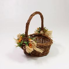 Natural Woven Basket with Raffia Cedar Roses and Dry by Lot450shop