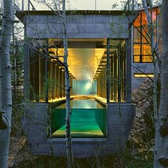 This is a simply ingenious approach. A glass wall at one end of the home transforms a simple lap pool into an aquarium-style display, set off by the serene, wooded setting. It lends the illusion that the water floats in midair.