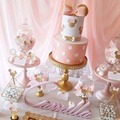Mini Mouse Birthday Cake, Baby Girl Birthday Cake, Minnie Mouse Birthday Decorations, Minnie Mouse First Birthday, 1st Birthday Cake Topper, 2nd Birthday, Bolo Minnie, Minnie Mouse Cake, Decoration Buffet