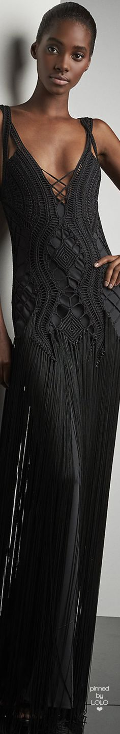 Ralph Lauren Crocheted Fringed Maxi Dress-Fall 2016 Runway Collection | LOLO❤︎