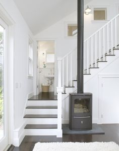 Our wood flood and stair - need wood steps with painted risers - Question is: New White Railing or Matching Wood or Funky Metal/Painted Metallic Silver??