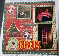 Handmade Scrapbook Layout pg. 1: Jordan World Circus, clowns, Fancy Pants-Everyday Circus  kit from www.trmemories.com