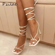 Brand New Never Worn  True To Size  Same Day Shipping  Brand Ambassadortop Rated Seller Since 2014 Ankle Strap High Heels, Wrap Heels, Lace Up Heels, High Heel Pumps, Pumps Heels, White Strappy Heels, White High Heels, White Heeled Sandals, Lace Up Sandals