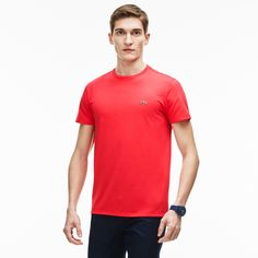 da5b48bf56e LACOSTE Men s Crew Neck Pima Cotton Jersey T-Shirt - sirop pink.  lacoste   cloth
