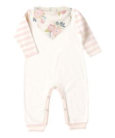 Take a look at this Ivory & Pink Stripe Playsuit & Spring Blossoms Bandana Bib - Infant today!