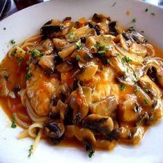 Carrabba's Chicken Marsala Recipe Main Dishes with butter, boneless skinless chicken breast halves, shallots, mushrooms, marsala wine, heavy cream, lemon juice, ground black pepper, salt